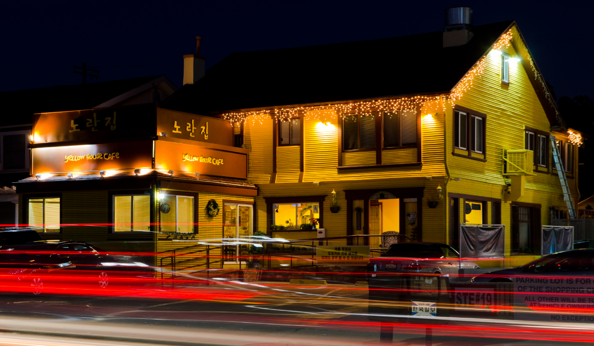 Yellow House Cafe night photo from outside